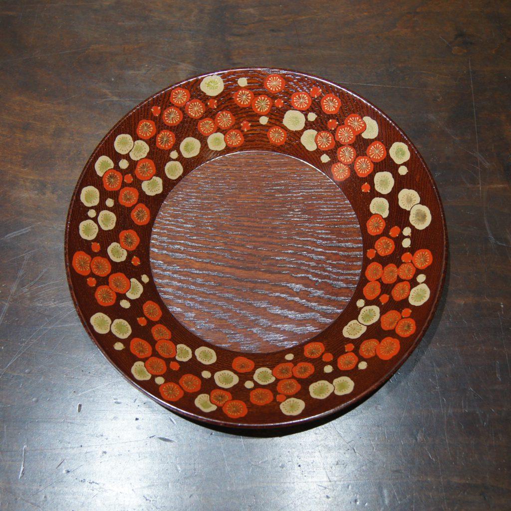 山口松大(やまぐちまつた) 漆絵紅白梅菓子器 共箱1